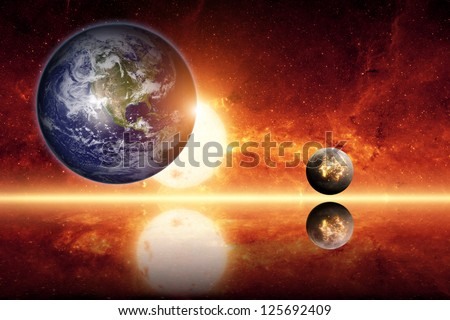 Abstract scientific background - planet earth, big sun, small exploding planet, red galaxy. Elements of this image furnished by NASA/JPL-Caltech