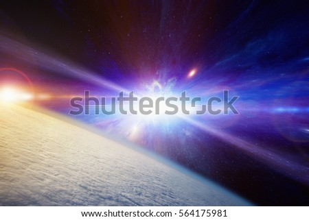Abstract scientific background - planet Earth covered with clouds, catastrophic stellar explosion of supernova. Elements of this image furnished by NASA.