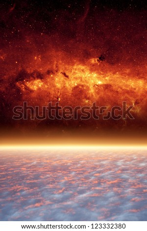Abstract scientific background - planet from space, red galaxy. Elements of this image furnished by NASA/JPL-Caltech