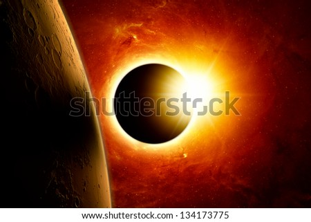 Abstract scientific background - planet mars, full sun eclipse. Elements of this image furnished by NASA/JPL-Caltech