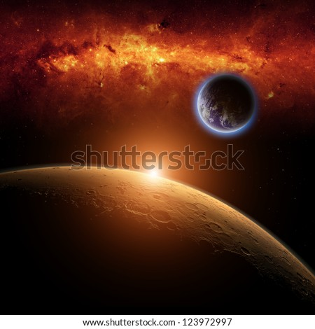 Abstract scientific background - planets Earth and Mars in space, red galaxy, bright red sun. Elements of this image furnished by NASA.