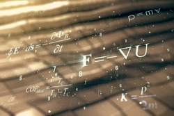 Abstract scientific formula hologram on blurry abstract metal background. Multiexposure