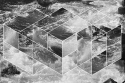 abstract sea geometric background, water waves. polygonal backdrop.  black and white, op art