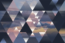 abstract sea geometric background with triangles and cumulus clouds; polygonal cloudscape backdrop; water, evening, sunset, op art