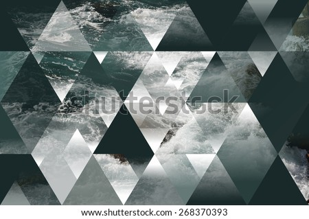 Photo of  abstract sea geometric background with triangles, water waves