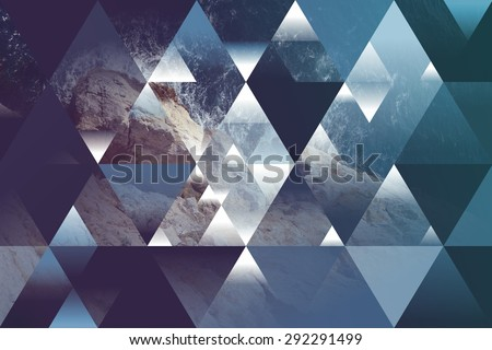 abstract sea geometric background with triangles, water waves #292291499
