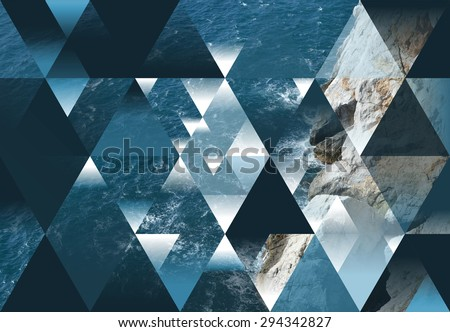 abstract sea geometric background with triangles, water waves #294342827