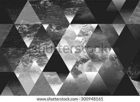 abstract sea geometric background with triangles, water waves. black and white  #300948161