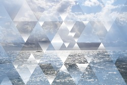 Abstract sea geometric background with triangles, water waves, cumulus clouds and boat. Op art. Reality is an illusion