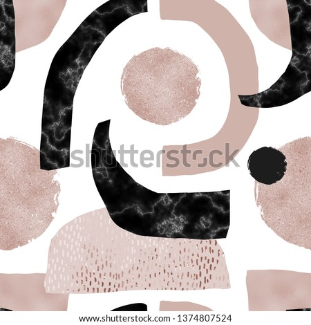 Abstract seamless pattern: digital marble paper, beige gold foil, pastel grunge texture. Creative art background with minimal shapes. Modern minimalism for trendy surface design with glitter effect