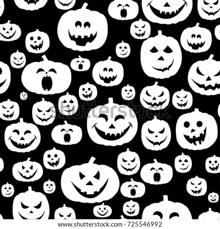 Black And White Vector Seamless Pattern For Halloween With Carved
