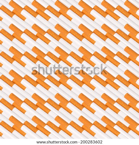 Abstract seamless pattern of cigaretts with filter. Isolated on white background. Close-up. Studio photography.