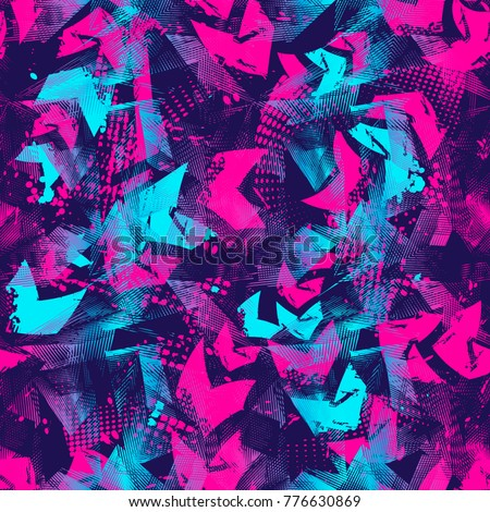 Abstract seamless pattern with chaotic arrow and shabby shape, dots, lines. Gradient colors background. Colourful elements on dark purple wall. Grunge urban repeated backdrop for wrapping paper