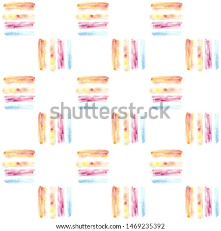 Abstract seamless pattern with colorful watercolor splotches and stripes.