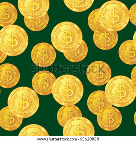 Abstract seamless pattern with dollar coins. Background for your design. Raster illustration.