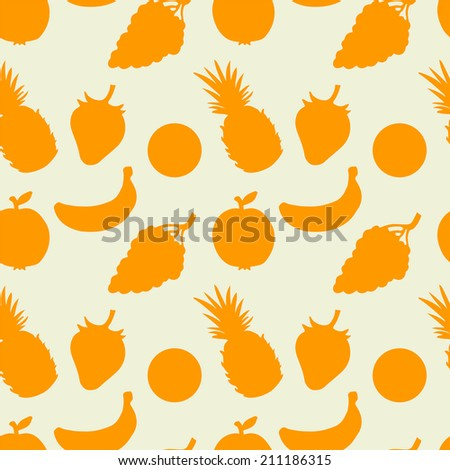 Abstract seamless pattern with fruits and berries.