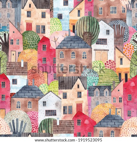 Abstract seamless pattern with houses. Watercolor background. Perfect for fabric, textile, wallpaper, kindergarten.