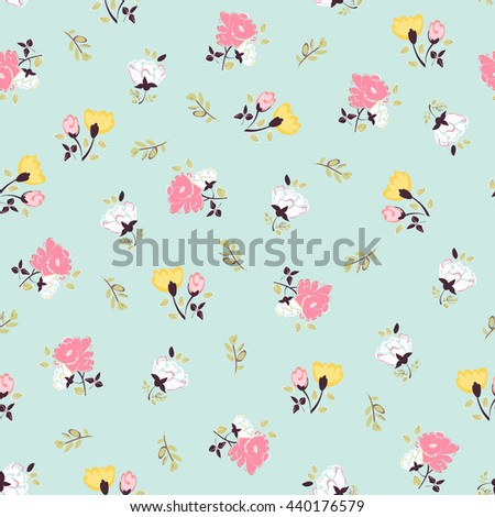 Abstract seamless pattern with isolated hand drawing flowers.