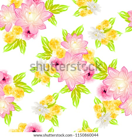 Abstract seamless pattern with plants, herbs and flowers, colorful botanical illustration. #1150860044
