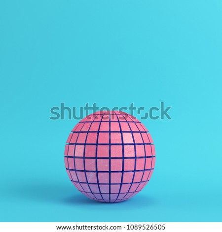 Abstract segmented pink sphere on bright blue background in pastel colors with copy space. 3d rendering