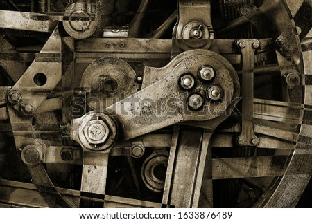 abstract sepia steel machinery part