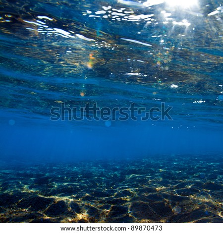 abstract shallow blue underwater background with water surface and shining sunlight