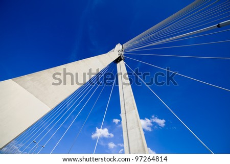 Abstract shape of a contemporary Swietokrzyski suspension bridge in Warsaw, Poland. #97264814