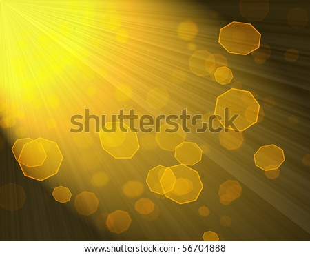Abstract shining rays of sun and hexagon bokeh lights