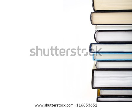 Abstract shot of a pile of Books over a white background.