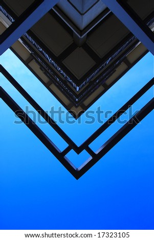Abstract shot of building against blue sky