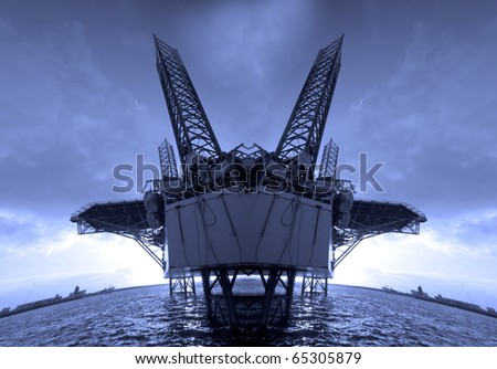 Abstract silhouette of a blue oil rig collage
