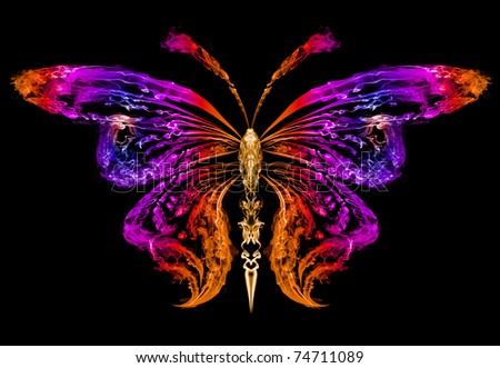 Abstract silhouette of a butterfly drawn by color smoke