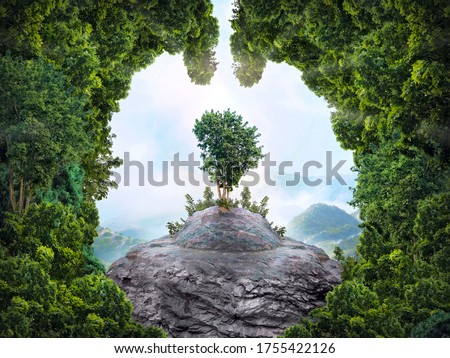 Abstract silhouette of lungs against the background of a dense forest. Trees are the lungs of the planet. Air purification. Mountains. Ecological concept.