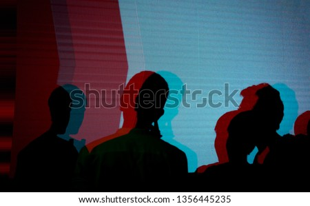 Abstract silhouette people and LED display screen ,Group of people having fun at music concert #1356445235