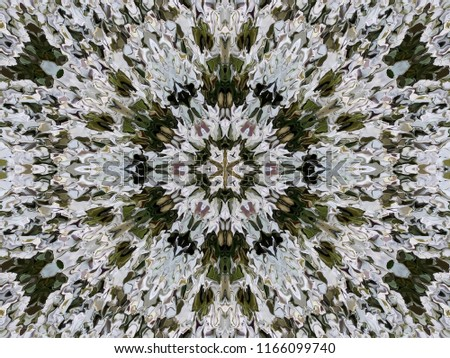 Abstract six-directional pattern from a modified spread image of white alyssum flowers. Six directional ornament in natural colors of alyssum flowers.