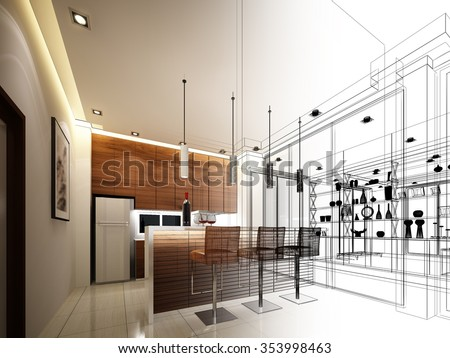 Shutterstock abstract sketch design of interior kitchen