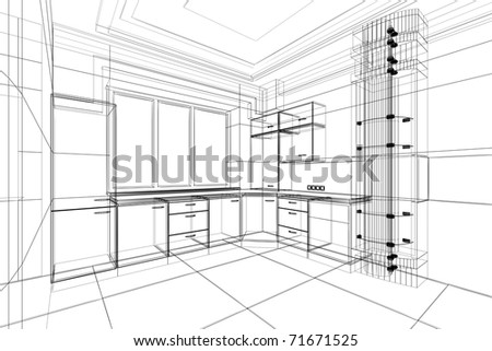 Kitchen Design Sketch on Abstract Sketch Design Of Interior Kitchen Stock Photo 71671525