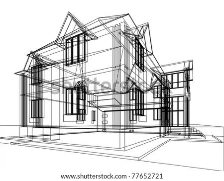 Abstract sketch of house. Architectural 3d illustration.