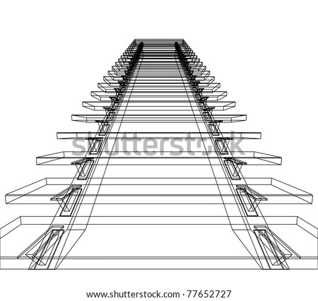 Abstract sketch of stairs. Vector illustration.