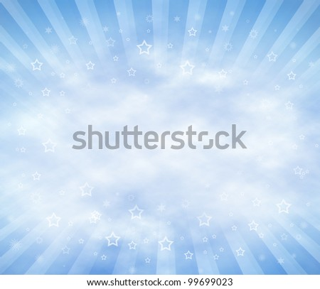 Abstract Sky Background with clouds and sun rays. Copy Space. - stock photo