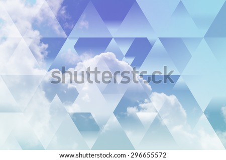 abstract sky geometric background, cumulus clouds. polygonal cloudscape backdrop. summer time