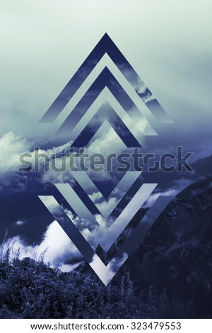 abstract sky geometric background with polygons, mountains and cumulus clouds, polygonal cloudscape backdrop, op art, altitude. reality is an illusion #323479553