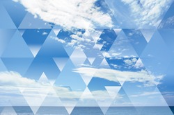 abstract sky geometric background with polygons, triangles and cumulus clouds, polygonal cloudscape backdrop, op art, altitude. reality is an illusion.