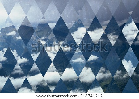 abstract sky geometric background with rhombus, mountains and cumulus clouds, polygonal cloudscape backdrop, op art, altitude. reality is an illusion. With old paper texture