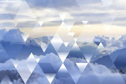 abstract sky geometric background with triangles, mountains and cumulus clouds, polygonal cloudscape backdrop, op art, altitude, sunset