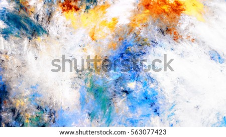 Abstract sky with shiny color clouds. Bright artistic splashes. Beautiful futuristic painting background. Fractal artwork for creative graphic design