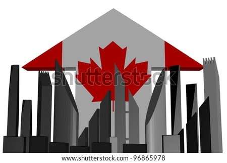 abstract skyline and Canada flag arrow illustration