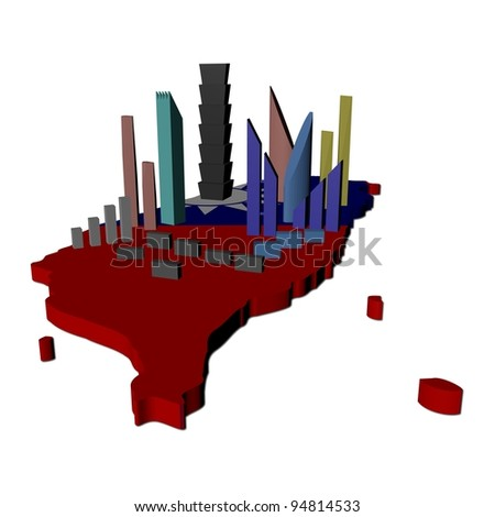 abstract skyscrapers on Taiwan map flag illustration