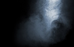 Abstract smoke and man in hood