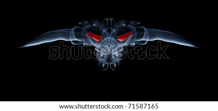 Abstract smoke creature - devil with red eyes on black background